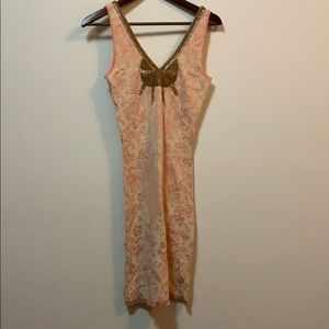 Free People Gold Sequin Pink Dress